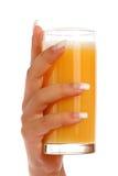 Manicure And Orange Juice Stock Photos
