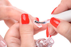Manicure, applying clear enamel Royalty Free Stock Photo