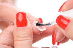Manicure, applying clear enamel Stock Photography