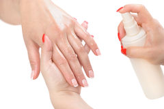 Manicure applying - moisturising Royalty Free Stock Photography
