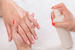 Manicure applying - moisturising Stock Photos
