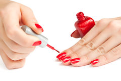 Manicure. applying nail polish.  Stock Photo