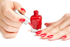 Manicure. applying nail polish.  Stock Images