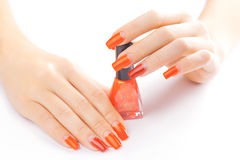 Manicure. applying red nail polish. isolated Stock Photo