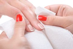 Manicure applying - wiping and cleaning Stock Photography