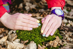 Manicure on a background of moss Royalty Free Stock Photos