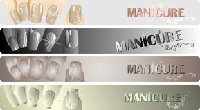 Manicure banners set Stock Photos