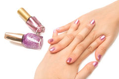 Manicure - Beautiful manicured woman's nails Royalty Free Stock Image