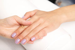 Manicure - Beautiful manicured woman's nails with violet nail po Stock Photos