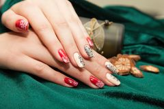Manicure - Beauty treatment photo of nice manicured woman fingernails. royalty free stock photo