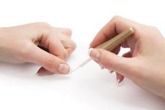 Manicure che applica manicure francese Immagine Stock Libera da Diritti