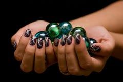 Manicure con le sfere Immagini Stock