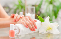 Manicure concept. Beautiful woman& x27;s hands with perfect manicure at beauty salon. royalty free stock images