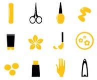 Manicure, cosméticos e ícones da beleza ilustração stock