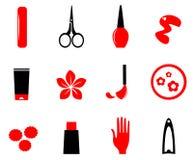 Manicure, cosméticos e ícones da beleza ilustração royalty free