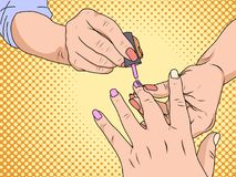 Manicure is a cosmetic beauty treatment for the fingernails and hands, performed at home or in a nail salon. Pop art. Style. Vector illustration Royalty Free Stock Photos
