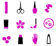 Manicure, cosmetics and beauty icons Stock Images