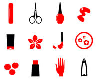 Manicure, cosmetics and beauty icons Royalty Free Stock Image