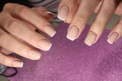 Manicure design for the bride French. Manicure design nails for the bride French stock image