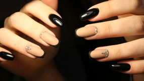Manicure design, coffee with rhinestones Royalty Free Stock Images
