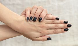 Free Manicure Design French Handsome Black With Glitter Royalty Free Stock Photography - 119209097