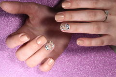 Manicure design nail tender butterfly Stock Photo