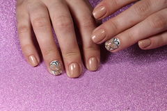 Manicure design nail tender butterfly Stock Photography
