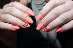 Manicure design orange geometry stock image