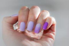 Manicure di raffreddamento di estate con il cristallo di ghiaccio Sui chiodi del lillà Immagini Stock