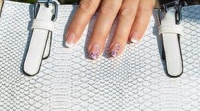 Manicure e borsa Fotografie Stock Libere da Diritti