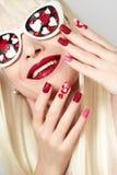 Manicure e trucco con i cuori Immagine Stock Libera da Diritti