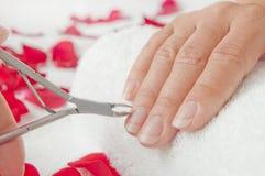 Manicure in een schoonheidssalon - vrouwenpalmen tijdens een behandeling han Royalty-vrije Stock Foto's