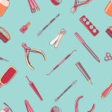 Manicure equipment seamless pattern. Hand drawn contour background. Royalty Free Stock Image