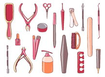 Manicure equipment set. Collection different tool nailfile, clippers, scissors. Hand drawn colorful illustration. Royalty Free Stock Photo