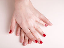 Manicure on female hands stock photo
