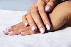 Manicure.femalehands.beauty salon.shellac poetsmiddel royalty-vrije stock afbeeldingen