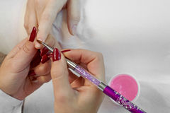 Manicure finger nail care. Royalty Free Stock Images