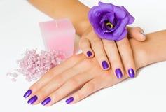 Manicure, fiore, candela e branelli Immagine Stock