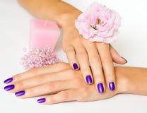 Manicure, fiore, candela e branelli fotografia stock libera da diritti