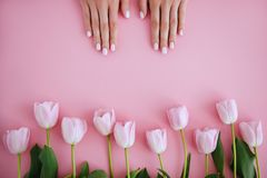 Manicure and flower stock photo