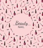 Manicure frame with space for text on a pink background royalty free illustration