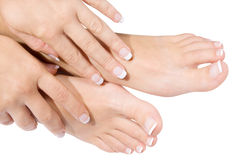 Manicure francese e pedicure Fotografia Stock