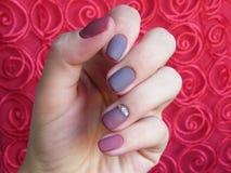 Manicure gel nail polish. Ombre with rhinestone burgundy gray stock photos