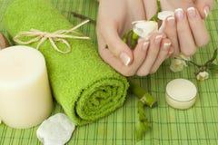 Manicure - handen met natuurlijke spijkers Stock Foto