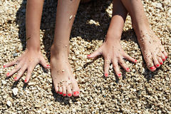 Manicure on hands and feet Royalty Free Stock Images