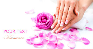 Manicure and Hands Spa. Beautiful Woman Hands Closeup Royalty Free Stock Images