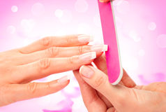 Manicure and hands spa Stock Photos
