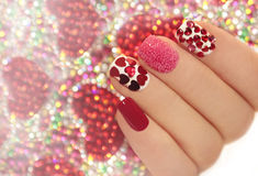 Manicure with hearts. Stock Images