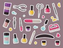 Manicure il vettore personale dell'attrezzatura dei cosmetici dell'unghia delle pinzette del salone di pedicure di cura della man Fotografie Stock