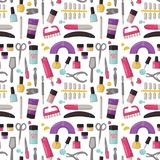Manicure instruments seamless pattern background hygiene hand care pedicure salon tweezers fingernail personal cosmetics. Manicure instruments seamless pattern Stock Photos